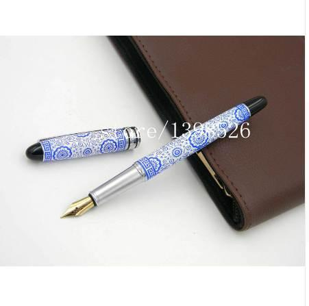 Kangroo Blue and White Porcelain Painting Metal Medium M Nib Fountain Pen
