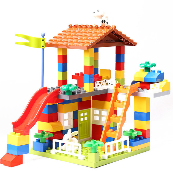 178pcs 89pcs Diy Block City House Roof Big Particle Building Blocks Castle Educational Toy For Children Bricks Baby Gifts MX190730
