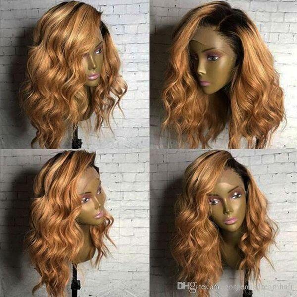 Ombre pelucas de cabello humano sin cola # 1B 27 dos tonos de encaje frontal pelucas de cabello humano peluca de encaje completo recta con nudos blanqueados envío gratis