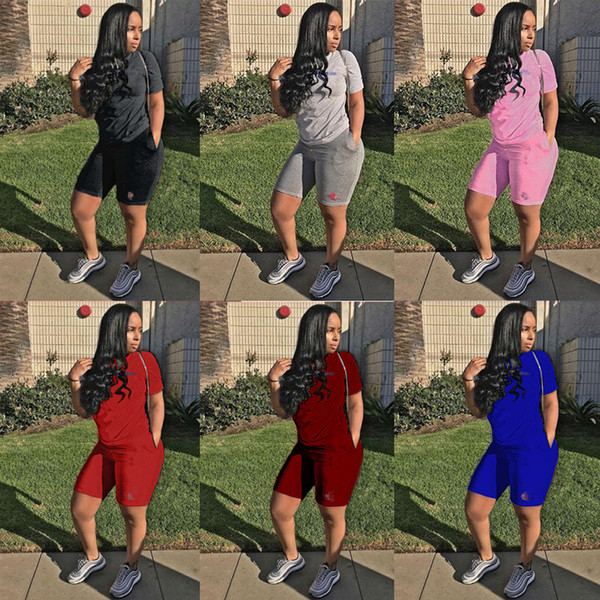 best selling Champion women designer tracksuit short sleeve outfits shirt pants 2 piece set skinny shirt short tights sport suit pullover pants klw0476