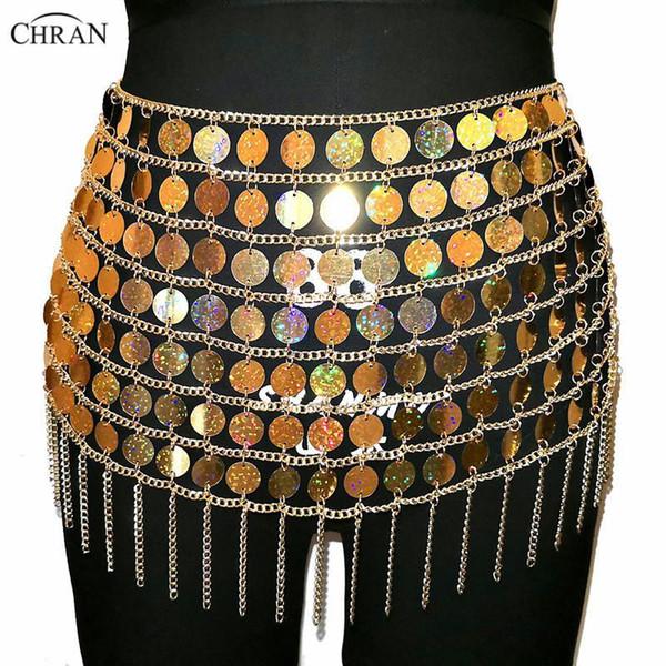 Chran Lazer Altın Pullu Boncuk Göbek Bel Zinciri Seksi Mini Etek Kadınlar kolye Bikini Giyim Parti Elbise Festivali Seksi Bod Takı