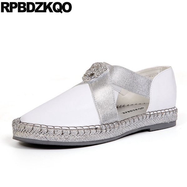 China Breathable Metal White Ladies Beautiful Flats Shoes Diamond Crystal Brand Slip On Rhinestone Chic Women Metallic Chinese