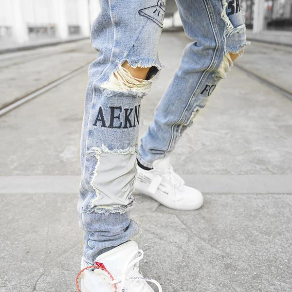 Men Skinny Ripped Jeans 2018 Vintage Biker Jogger Distressed Hole Baggy Denim Slim Fit Casual Pants