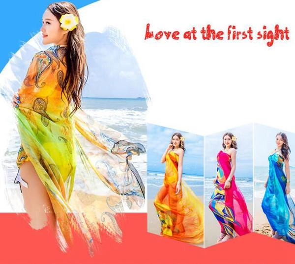 Femmes foulards en mousseline de soie Floral Beach Wraps Sunscreen Shawl mode été conduite foulard en mousseline de soie Pareo Sarongs KKA6657