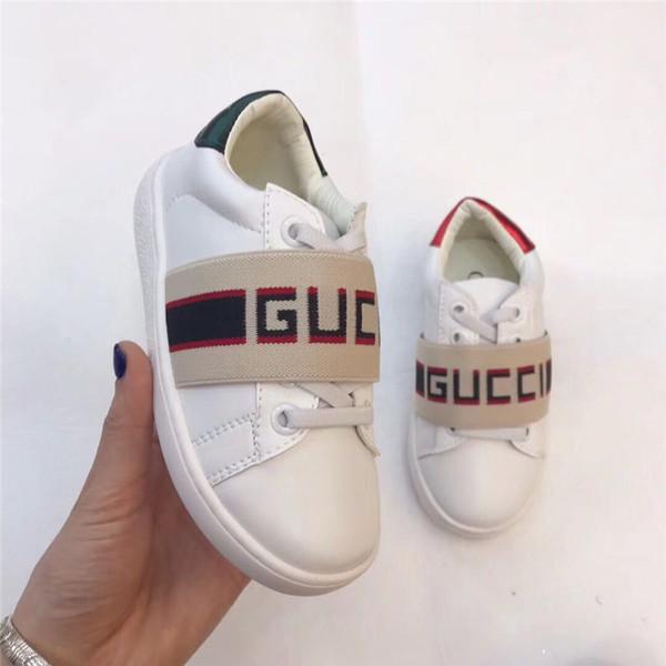 Eu 26-35 Kid Kız Beyaz Koşu Moda Ayakkabı Sneakers Boy Siyah Deri Tasarımcı Ayakkabı için Bebek Çocuk Ayakkabı Tasarımcısı