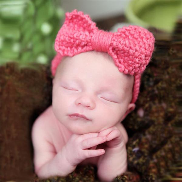 2019 Xmas Baby Kids Bow Headbands Children Girls Boys Crochet Headwrap Princess Hair Accessories 14 Color T009
