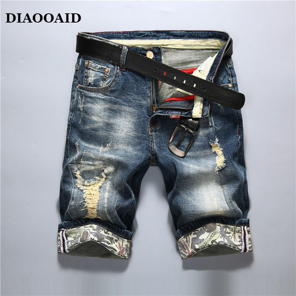 Diaooaid 2018 New Fashion Mens Ripped Short Jeans Brand Clothing Cotton Shorts Breathable Denim Shorts Male Personality Shorts Y190509