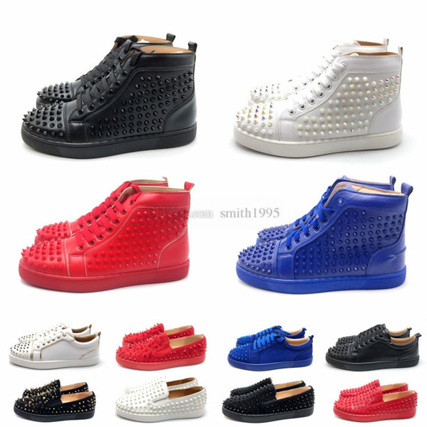 Christian Louboutin CL Top Designer Men Women Red Bottom Party Cuero genuino Glittery Bottom Studded Spikes Flats Shoes Moda de lujo zapatos casuales
