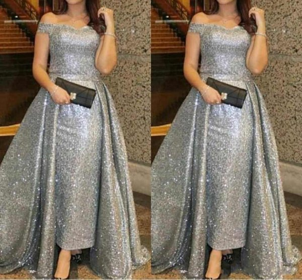 2019 Plus Size Silver Sequined Mother Off Bride Dresses Off Shoulder Cap  Sleeves Backless Simple Sweep Train Wedding Guest Evening Gowns Von Maur ...