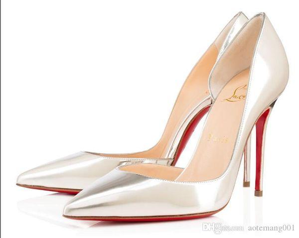 Christian Louboutin CL люкс Женская обувь Red Bottoms насосы Высокие каблуки черный Ню острым носом красный Низ платья Свадебная обувь 8 10 12см 05