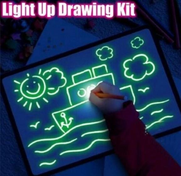 best selling Draw With Light Fun Drawing Board Toys 23X32.5CM Painting Supplies Baby Toys Magic Draw Educational Creative Home Luminous Hand writing Boa