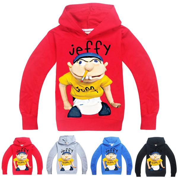 top popular sml Jeffy printed kids Hoodies 6-14T Kids Boys Cartoon Print Hoodies Sweatshirts 115-165cm Kids Designer Clothes Boys Wholesale FSS384 2021