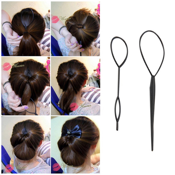 2 Pcs Fashion Plastic New Magic Hair Loop Ponytail Maker Styling Clip Styling Tool For Girls Hairstyles YJM-0024