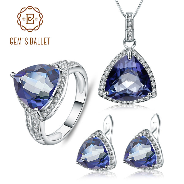 Ballet Clásico Iolite Blue Mystic piedra preciosa del cuarzo joyería de GEM Establece 925 pendientes de plata de ley Anillo Set colgante para las mujeres
