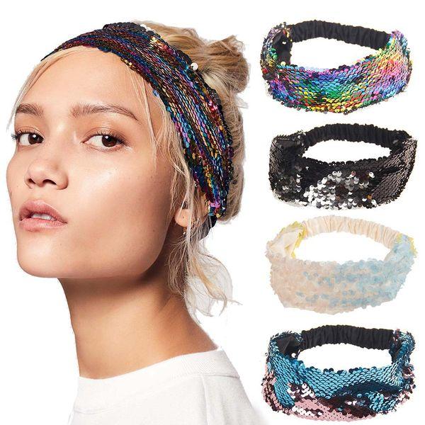 Diademas reversibles de lentejuelas para mujeres Hecho a mano Rainbow Turbante Niñas Bandas anchas elásticas Accesorios para el cabello de sirena 10 estilos DBC VT0801