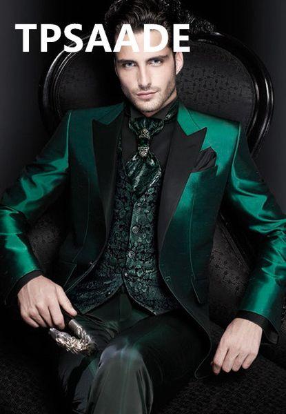 New Arrivals Italian Green Men Suits Satin Slim Fit Formal Groom Ball Gown Tuxedo Male Coat 3 piece Blazer Jacket + Pants + Vest