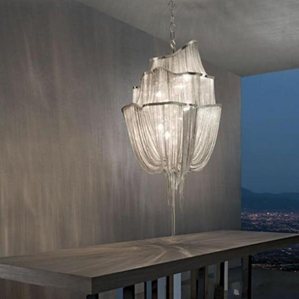 Led Retro Aluminum Chain LED Ceiling Lights Fixture Lamps Chandelier Modern Pendant Lamp For Living Room Hotel Foyer Staircase Hall