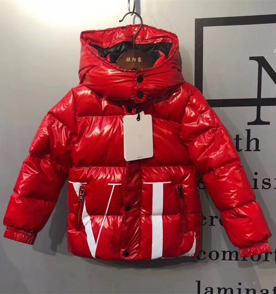 Branded Daring Children Bright Nylon Quilted Laqué Down Jacket Designer Kids Boy Girl Pocket Snap-off Detachable Hood Lehgth Down Coat