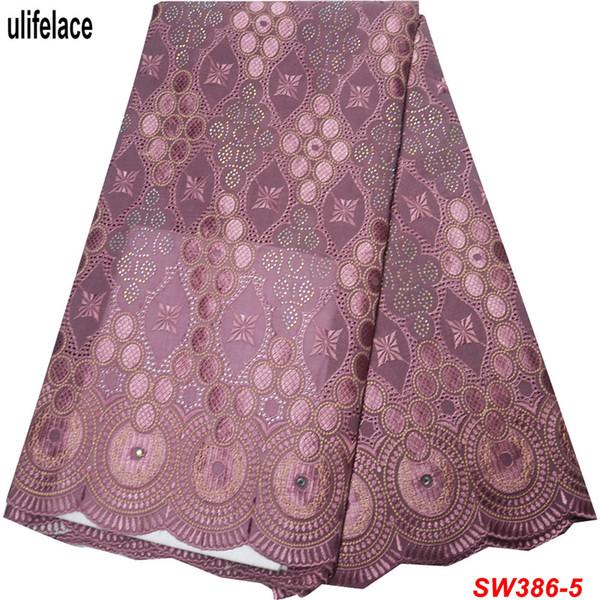 Cebola Tecido de Renda Suíço Africano de Alta Qualidade Swiss Voile Rendas Na Suíça Bordados de Algodão Nigeriano Mulheres Vestidos SW-386