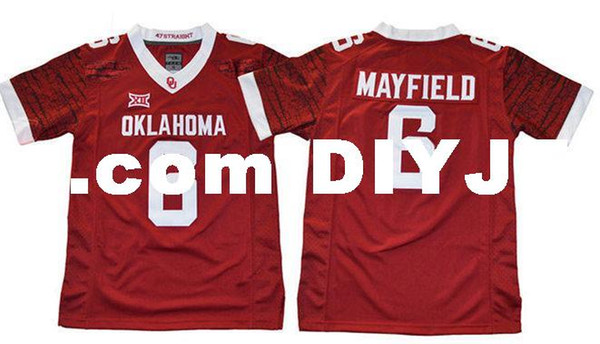 new york 9c7cd faec1 2019 Mens NCAA Oklahoma Sooners Baker Mayfield College Football Jersey 28  Adrian Peterson 44 Brian Bosworth 14 Sam Bradford OSU Sooners Jersey From  ...