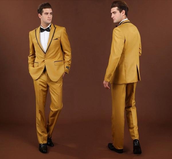 Tuxedos de mariage d'or pour le bal de finissants meilleurs costumes de mariage costumes de mariage de la pièce du marié marié garçons d'honneur sur mesure (veste + pantalon + noeud papillon)