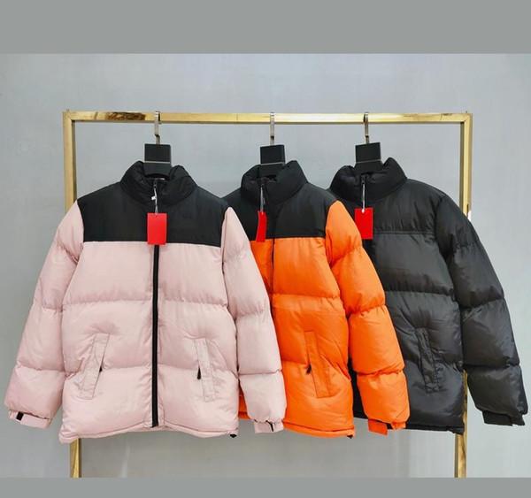 İyi 19FW THENF Pamuk dolgulu Ceket Logo Nakış Coats Çift Kat Kış Dağ Kabanlar Sıcak Moda Pembe Turuncu BlackXLgooes