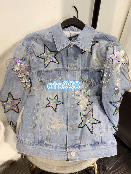 Mulheres lapela pescoço denim jaqueta de lantejoulas estrela borla com bordado de manga comprida blusa designer de moda de luxo tops dress casual camisas de casaco