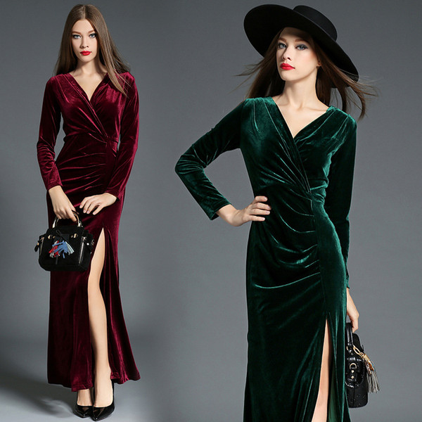 Burgundy Fitted Prom Evening Dresses Turquoise Blue Long Party Dress Formal Wear Split Sexy V Neck Evening Gowns