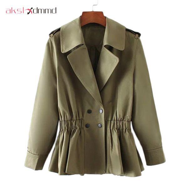 akslxdmmd fashion short trench coat 2019 new women slim elastic waist double button short coats armygreen coat female lh896