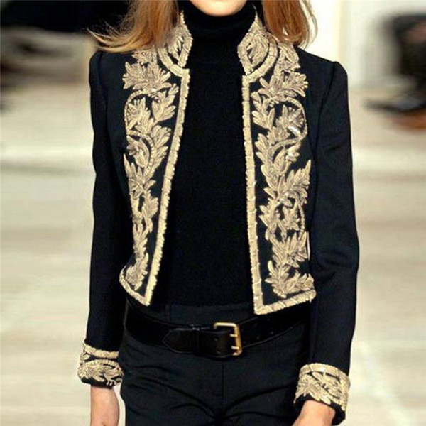 Female Jacket Fashion print Long Sleeve Open Front Short Cardigan Suit Jacket Work Office Coat Top Jaqueta Feminina A55
