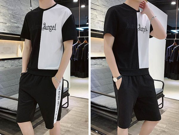 Designer Tracksuits for Men 2019 New Fashion Casual Sport Suits Letter Embroidery Men SlimT-shirts & Shorts Asian Size M-4XL