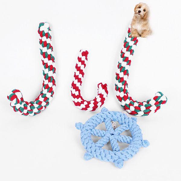 Chien de compagnie tressé à mâcher morsure jouer jouets coton animaux chiot chat chien morsure formation dents canne de Noël béquille jouets cadeaux de Noël XD20797