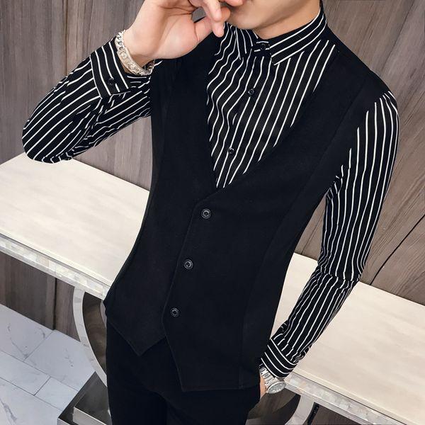 False Two Piece Long Sleeves Shirt 2019 Spring New Summer Money Man Korean Edition Slim Shirt