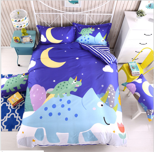 Cute boy girl children kids bedding sets with160x210*200x230*4+4 pieces pure cotton quilt pillow bed covers high quality for child
