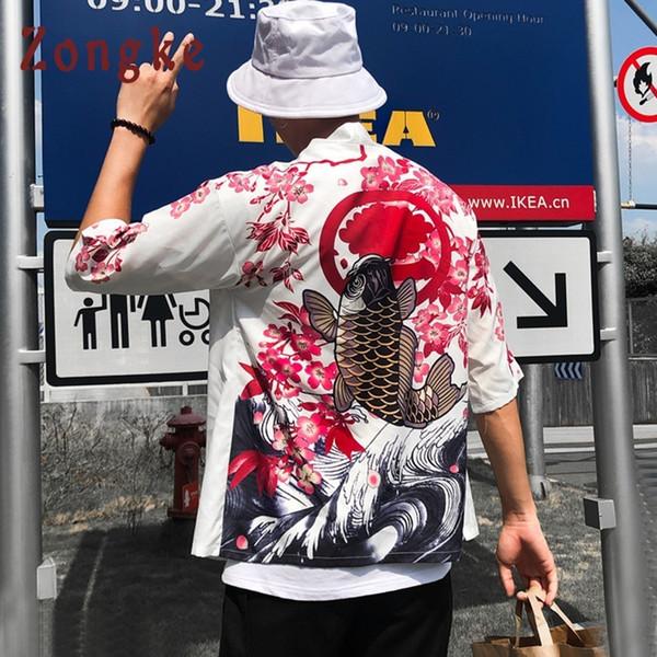 Zongke Japanese Long Carp Print Floral Cardigan White Summer Japan Kimono Men Jacket C190416