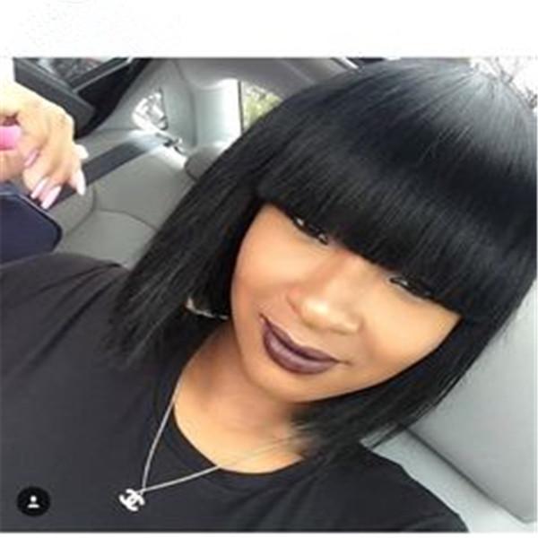 Düz İnsan Saç Peruk Patlama Kısa Bob Peruk Siyah Kadınlar için Remy Saç Peruk 10 inç Brezilyalı Amerikalılar için Düz Bob Peruk Amerikalılar