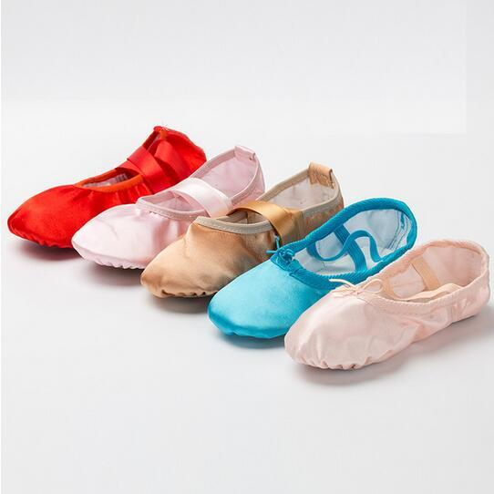 Check Sizing Chart EURO 23-39 Kids Adult Women Soft Sole Girls Pink Pointe Dancing Shoes For Girl's Ballet Dance Shoes