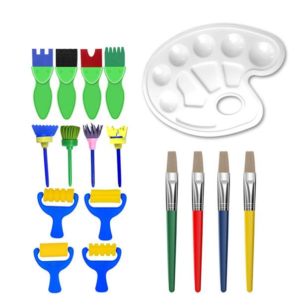17 Pz Set di Strumenti per Dipinti per Bambini Flower Graffiti Sponge Brushes Kids Creative Palette Pittura ad olio Pennello Art Supplies TTA535