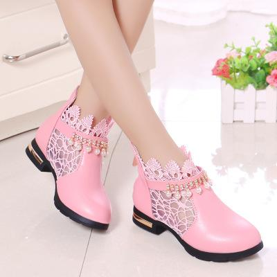 Promotional price Princess style Martin Boots children grils shoes short ankle flat heel luxury high quality leather lace and Pendant