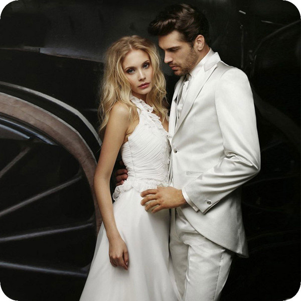 Marfim italiano Cetim Ternos Dos Homens Do Casamento Do Noivo Smoking Homem Do Vintage Blazer Jacket 3 Peça Mais Recente Casaco Calça Projetos Terno Masculino Traje Homme