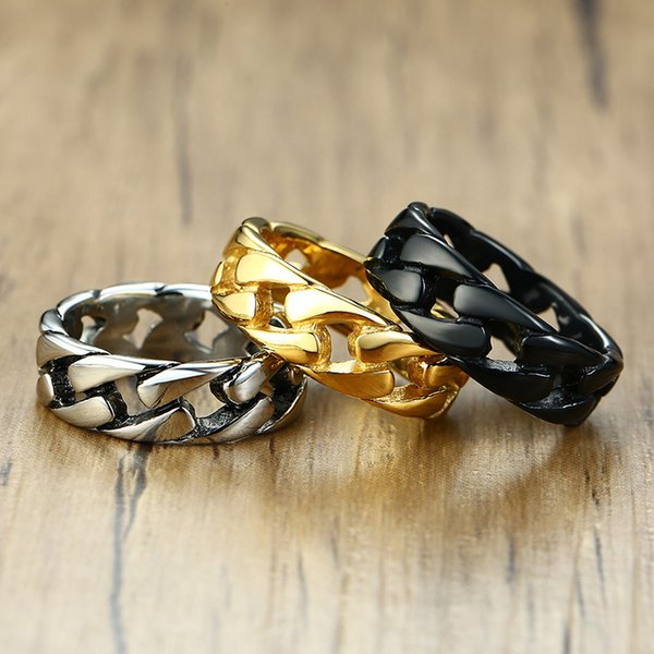Rings ZORCVENS Gold Silver Color Stainless Steel 7mm Punk Vintage Rings for Men Cuban Link Chain Male Boy Finger Ring Accessory
