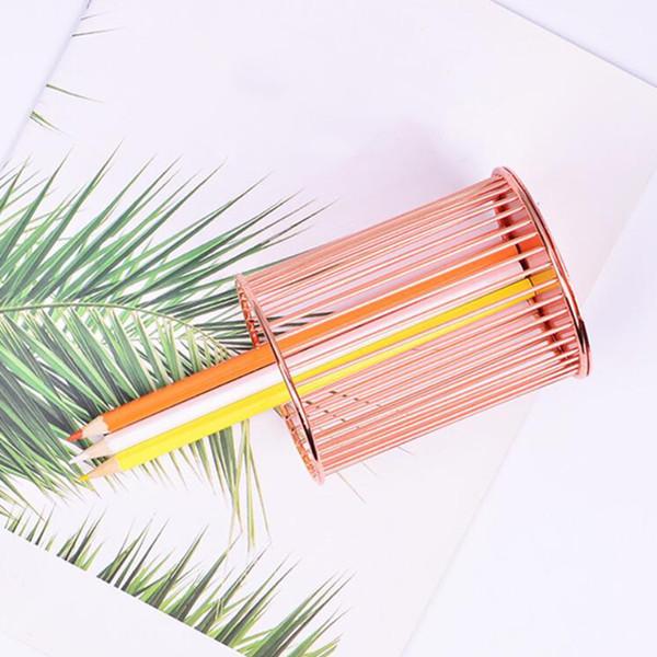 best selling Iron Round Metal Wire Mesh Pen Pot Pencil Brush Holder Desk Organizer