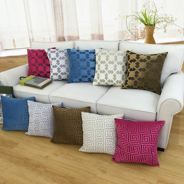 best selling 45*45cm Square Velvet Pillow Covers Fashion Thicken Soft Double Throw Pillow Case Classic Sofa Chair Pillows Cases GGA2436