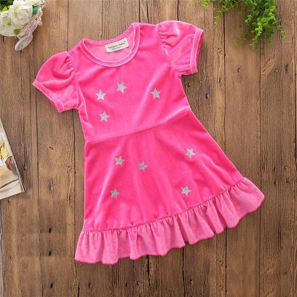 INS 2019 New Style Kids Girl Pink dress Baby short sleeve star print dress Toddler Autumn Ball Gown for 1-6T