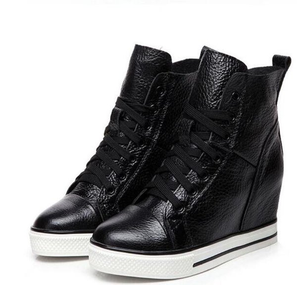 2019 autumn Lace-up High-top Genuine Leather Shoes Women Sneakers High Heels Increase Within Wedges Casual Shoes plus velvet winter shoes