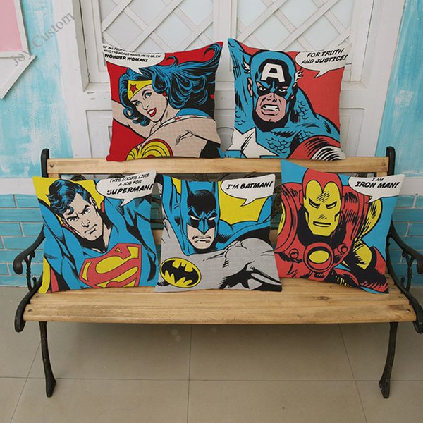 POP Art Супергерои Диван Подушка Обложка Лига Справедливости Ironman наволочка