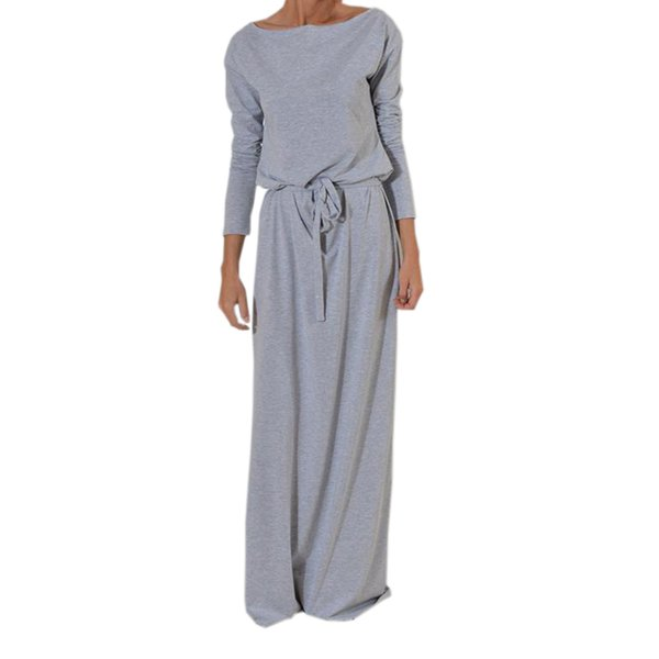 Autumn Women Long Maxi Dress Slash Neck Sashes Winter Dresses Casual Long Sleeve Solid Dress Casual Plus Size Gv028 Y19012201