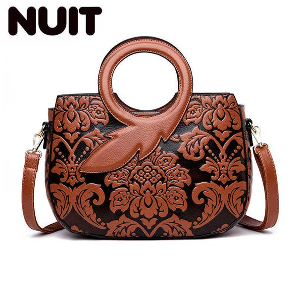 Leaf Hand Embossing Leather Women Bag Floral Women Over Shoulde Bag Female Designer Handbags Flower Chinese Style Bags for