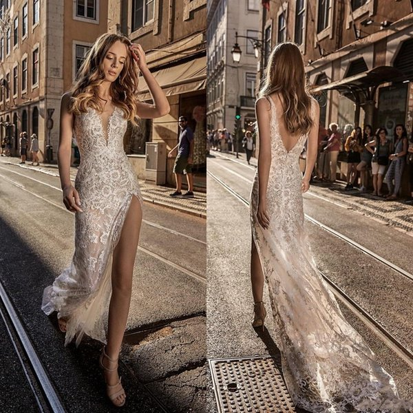 Berta 2019 Sheath Wedding Dresses Lace V Neck Split Backless With Tulle Overskirts Sweep Train Bridal Gowns robe de mariée