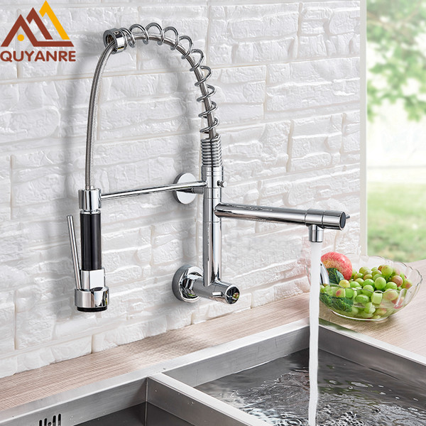 2019 Wall Mounted Spring Kitchen Faucet Pull Down Sprayer Dual Spout Single  Handle Mixer Tap Sink Faucet 360 Rotation Kitchen Faucets From ...